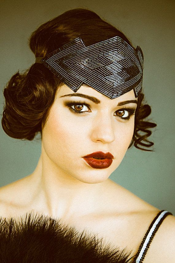 Great Gatsby Flapper Headpiece, Beaded Art Deco Style Headband in Gunmetal perfect for a vintage 1920's inspired event