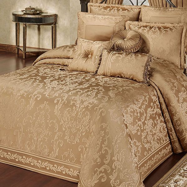 Monaco Gold Damask Oversized Bedspread Bedding Bed Spreads Gold Bedding Sets Gold Bed