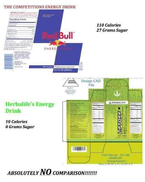 Red bull vs. HERBALIFE LIFT OFF no comparison