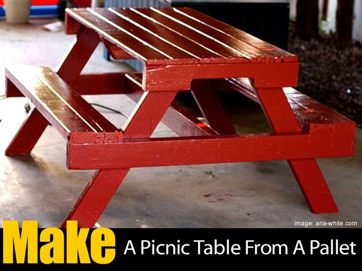 Most people look at a pallet and see a piece of trash, but there are actually quite a lot of amazing things you can make with them. Tables, chairs, book shelves, you can even make your own bed! Find out how to make your own furniture, like a pallet picnic table… Details at: Pallet Picnic …