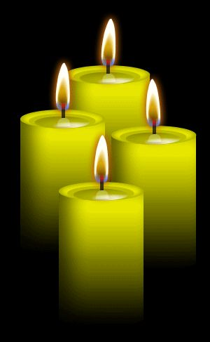 ✯ 4 Yellow Candles: Use for intellect, wisdom and honor, action, inspiration and creativity, studying and intelligence, concentration, memory, logic, learning, attraction, confidence, Mental powers, intellect, inspiration, concentration, retention of memory, energy, cheerfulness, sunny disposition, changes, endurance, stability and security .. By ~Blood-Huntress✯