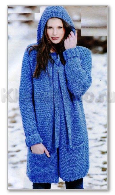 Вязание спицами. Однотонное прямое пальто с капюшоном и с большими карманами. Размеры: 34-36 (38-40; 42-44; 46-48)