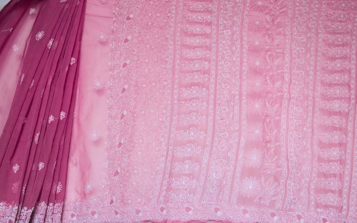 Lucknowi Onion Pink and White Semi Georgette Saree