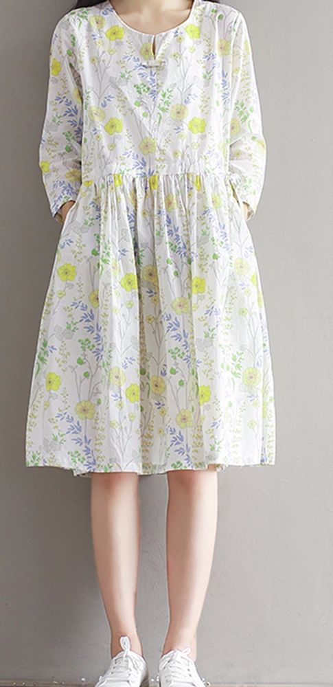 Women loose fitting over plus size retro flower dress long pocket tunic skirt #Unbranded #dress #Casual