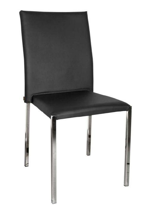 Silla Teba: Silla extructura metálica con recubrimiento cromado. Tapizado en PU. Colores disponibles negro y blanco . Patas con conteras de plástico antirrayado.