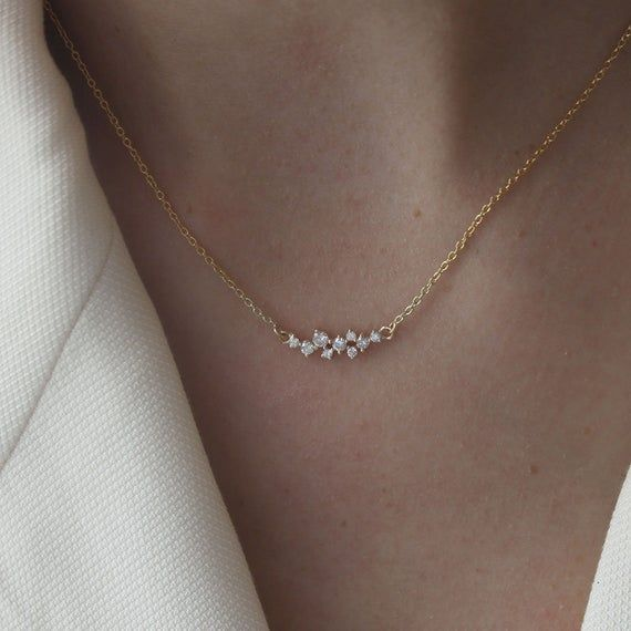 9 Cluster Diamonds Necklace / Diamond Necklace / 14K Gold Necklace / Delicate Diamond Necklace / Everyday Diamond Necklace / Fine Jewelry