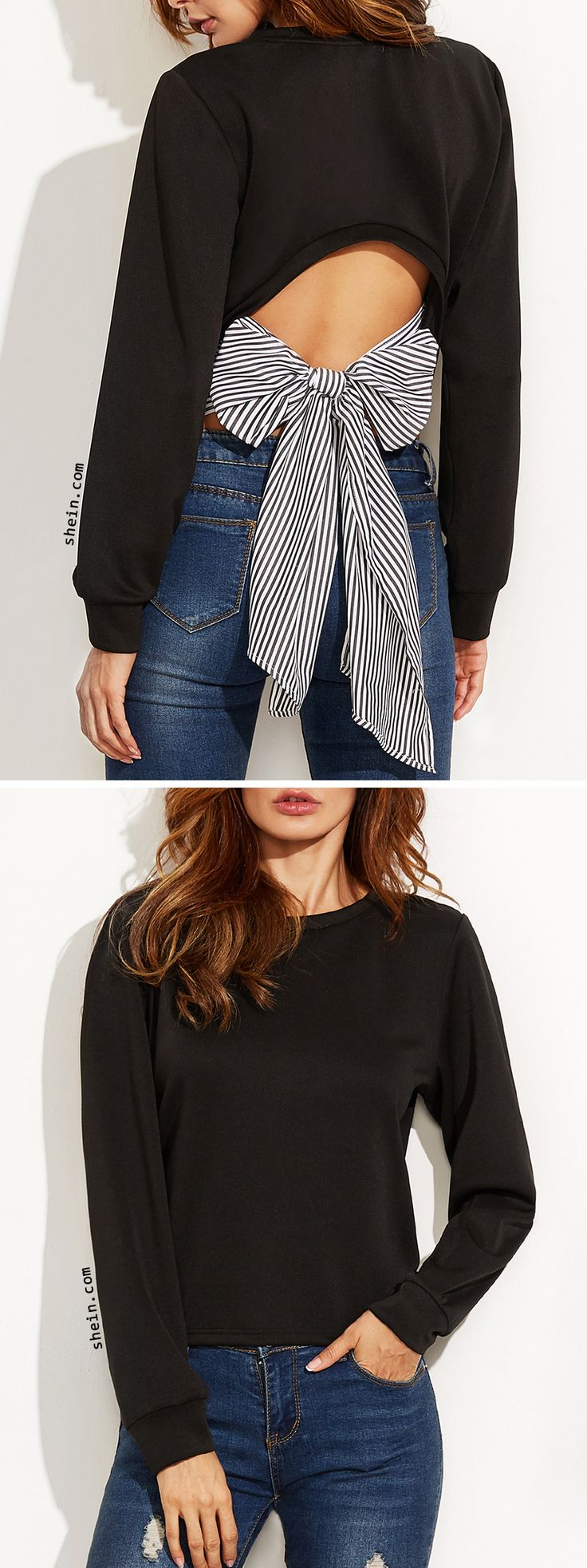 SHEIN Black Cutout Striped Bow Back Sweatshirt