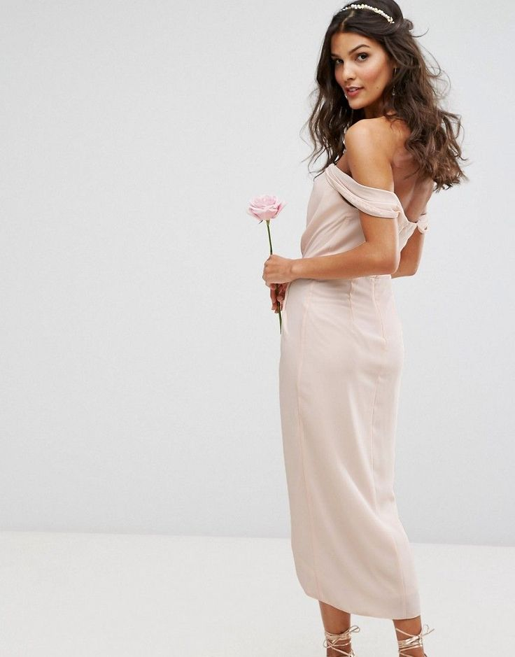 TFNC WEDDING Bardot Midi Dress with Wrap Front and Pleated Bust - Pink
