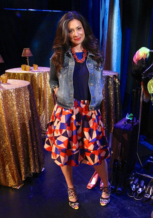 Studded Denim Jacket by Zara, Blue/Pink Blouse by Marc Jacobs, Geometric Print Skirt #WNTW