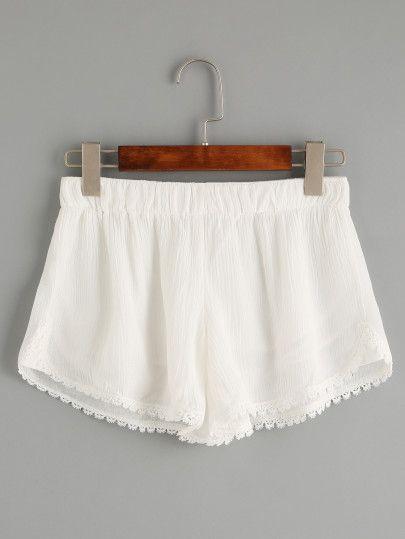 Pantalones cortos de cintura elástica ganchillo - Blanco                                                                                                                                                                                 Más