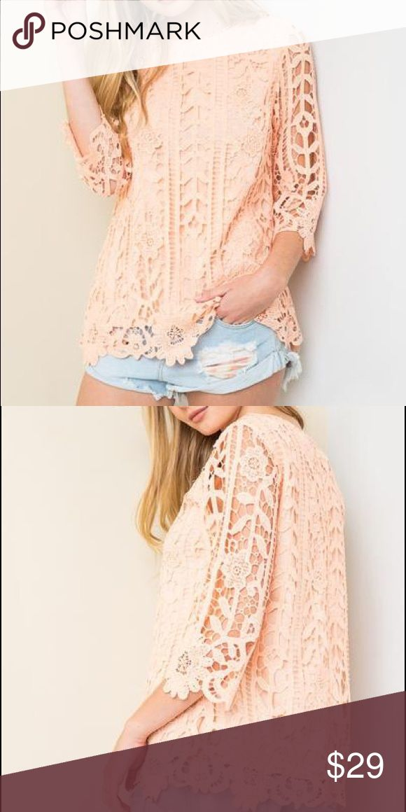 Lace Shell Top This lace shell top in Peach is perfect for spring.  Would look great with white or dark denim and tan sandals.  Solid tank layered underneath.  Polyester Tops Blouses