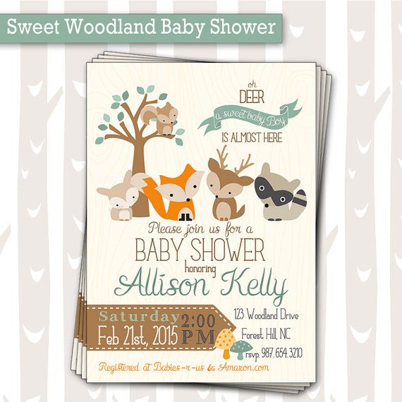 Hey, I found this really awesome Etsy listing at https://www.etsy.com/listing/223924489/sweet-woodland-baby-shower-invitation