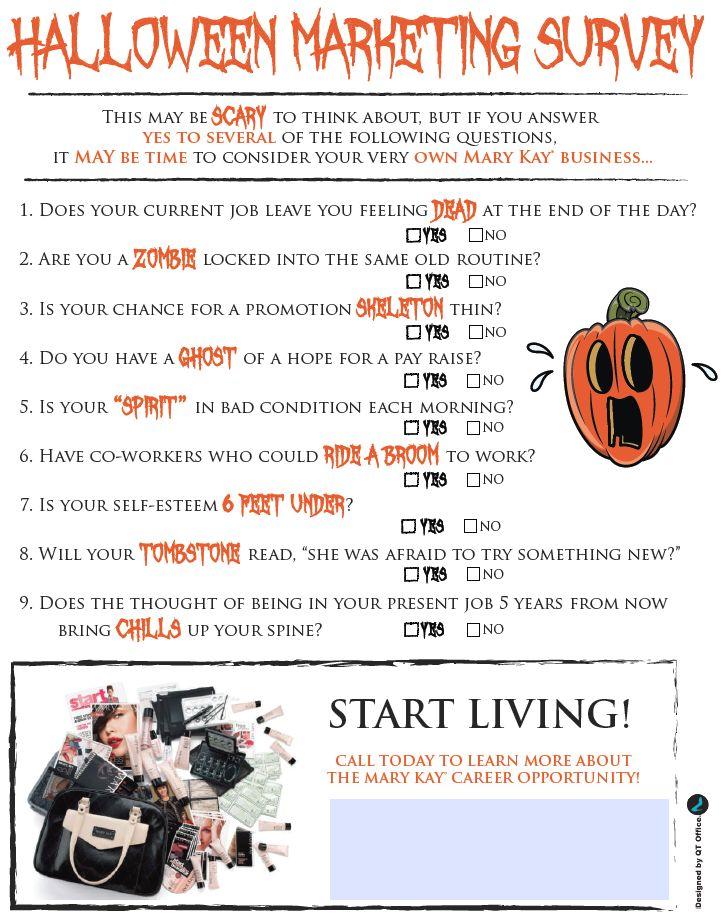 Mary Kay® Marketing Survey for Halloween!  http://www.blog.qtoffice.com/