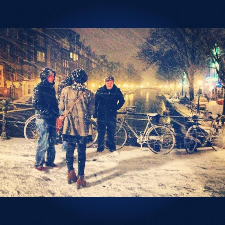#snow #bridge #photography #people #night #amsterdam #cold