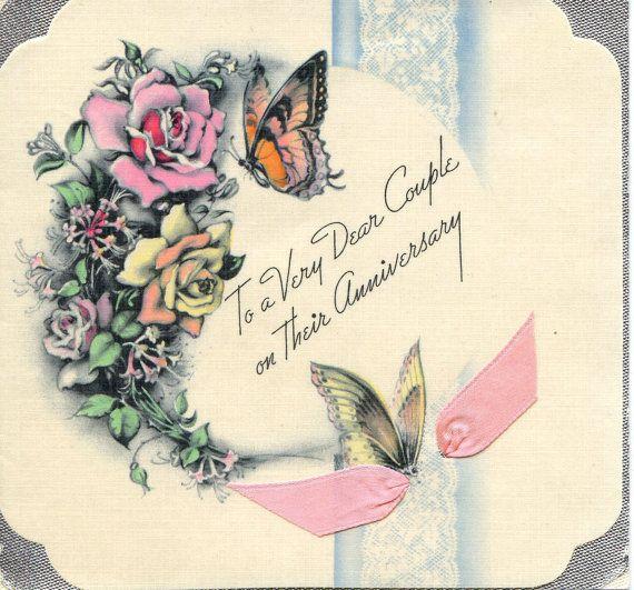 Vintage Wedding Anniversary Card Greeting Love Romance Paper Ephemera