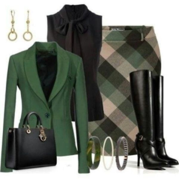 Schoolgirl plaid with grown up accessories