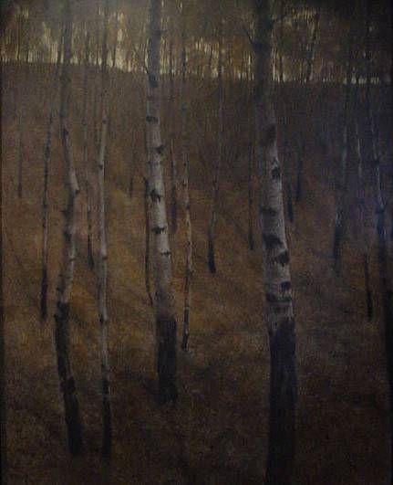 Multimedia painting of a twilight alder grove by artist Michael Hames
