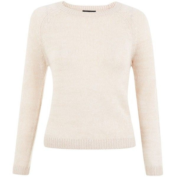Petite Cream Jumper ($12) ❤ liked on Polyvore featuring tops, sweaters, petite, pink top, pink jumper, long sleeve sweaters, petite jumpers and long sleeve jumper
