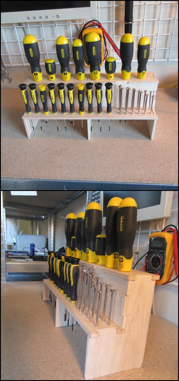 Are you constantly losing or misplacing your screwdrivers? Here's a clever storage project that will fix it... It's compact, sturdy and most importantly of easy-access! It also makes it easier for you to check if there are any screwdrivers missing. ;) Head over to our site, follow the step-by-step tutorial and never misplace any of your screwdrivers again!