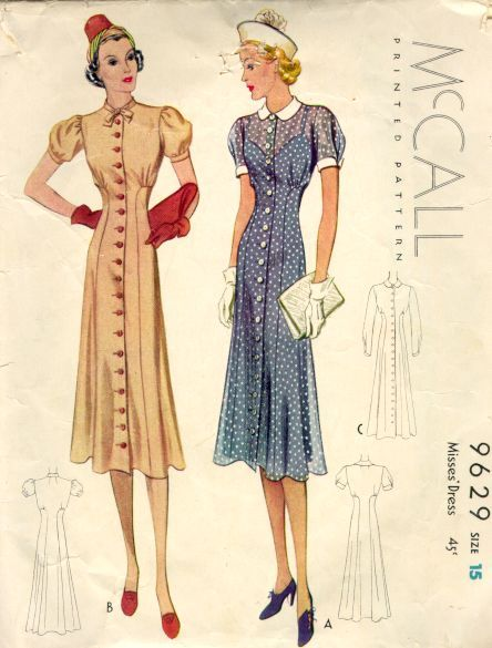 This is a sharp-looking 1938 dress pattern. Note the long, slimming lines and the slight emphasis given the bustline by the gathers underneath.