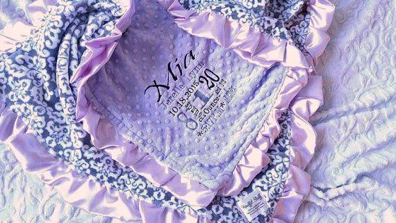 Purple Blanket  Personalized baby blanket  by KnuffelStuff on Etsy