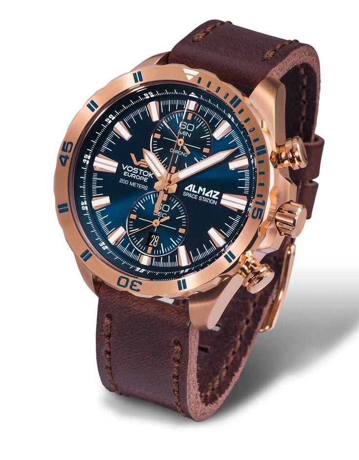 Vostok Europe ALMAZ Space Station Chrono Gold/Brown Watch 6S11/320B262