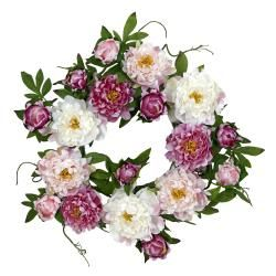 Round 22-inch Peony Wreath | Overstock.com Shopping - The Best Deals on Wreaths