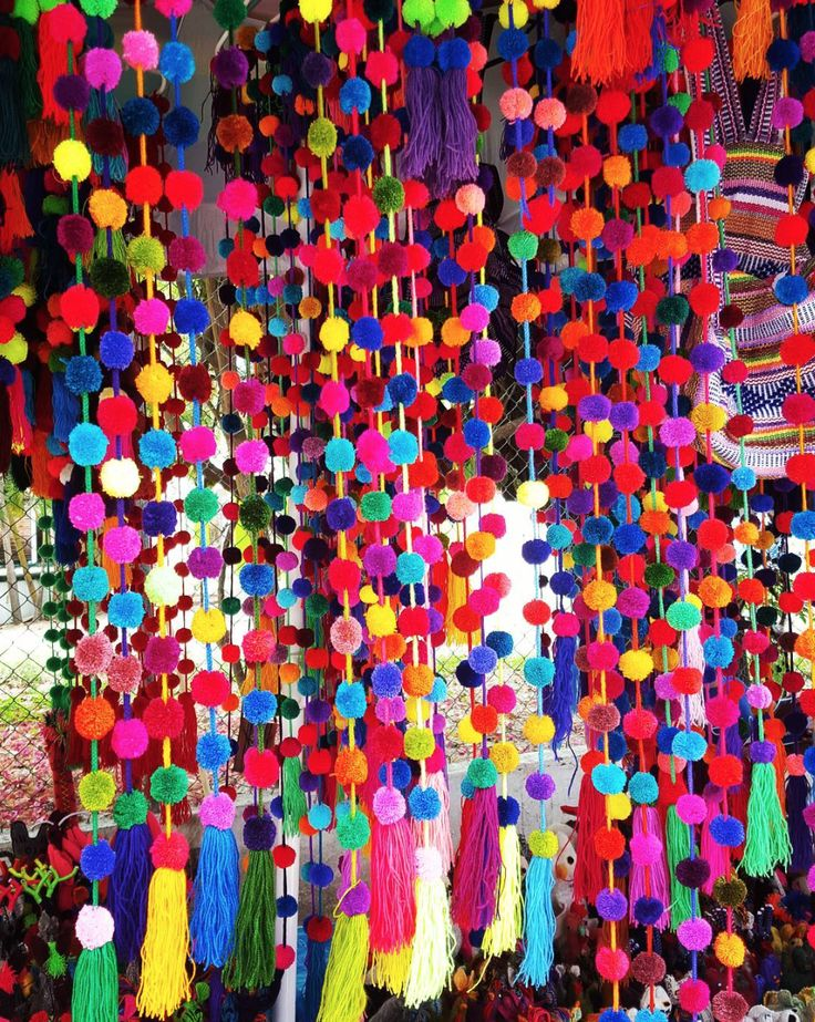 The beautiful, bright colors of the Huichol pom poms. I cannot tell you how many of these I bought in Sayulita