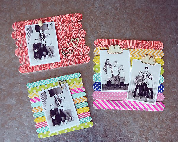 eighteen25: Popsicle Stick Frames with Washi Tape