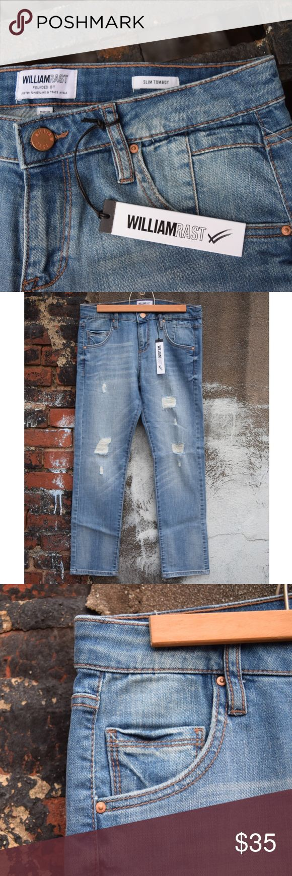 William Rast distressed skinny jeans NWT William Rast distressed slim tomboy skinny jeans. New With Tags!!! US Size 25, in woven cotton/elastane. William Rast Jeans Skinny