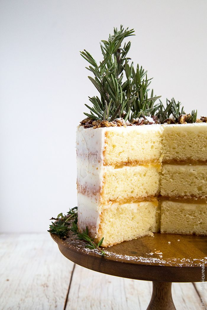 Rosemary lemon cake with lemon curd filling and Rosemary buttercream