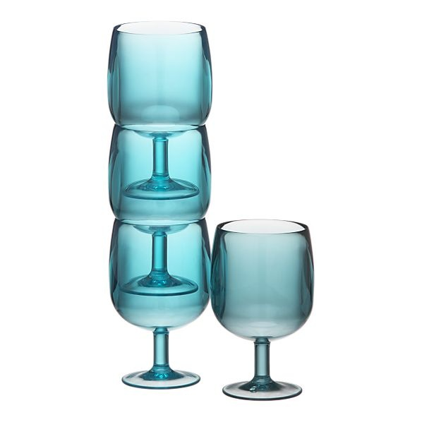 plastic and stackable, perfect for the pool or for a cocktail party that you don't want to worry about
