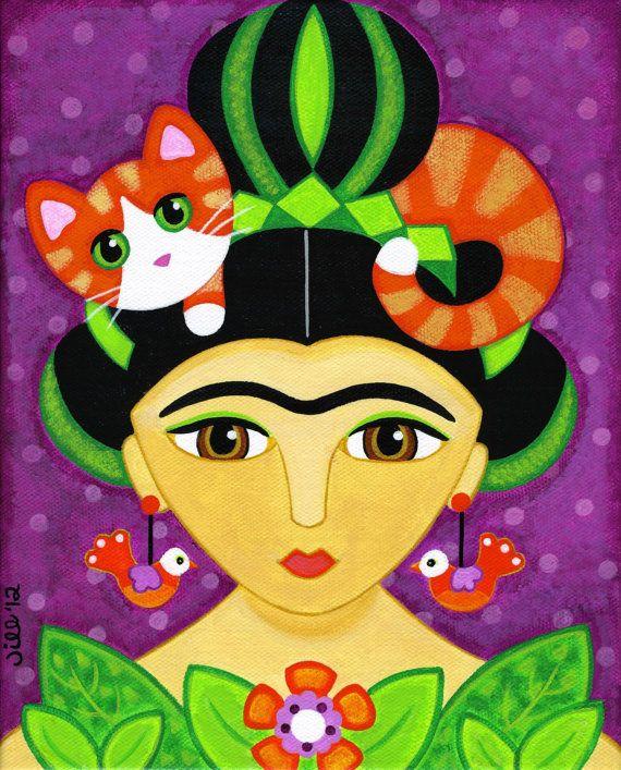 FRIDA Kahlo & suo Tabby arancione gatto Folk Art stampa da dipinto originale di Jill