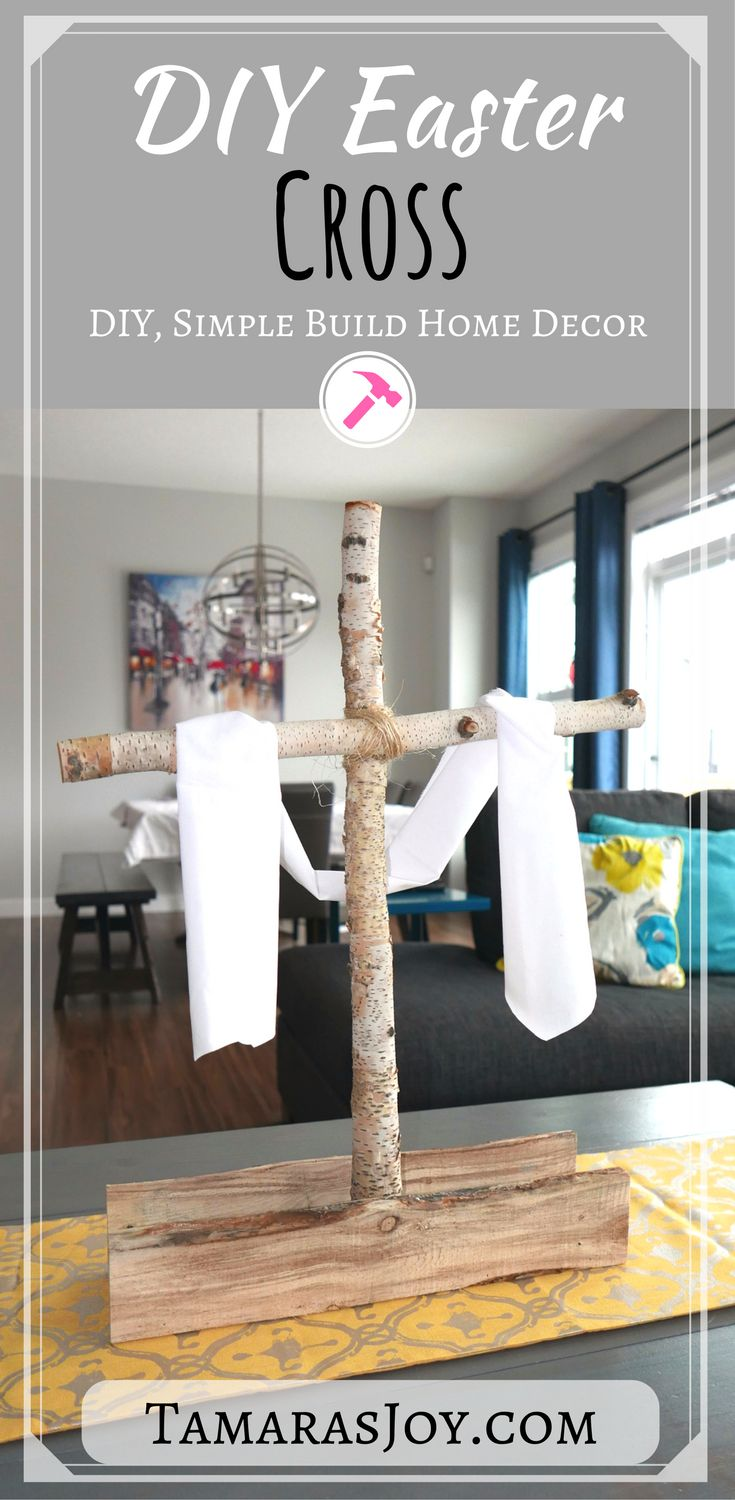 Christian easter decorations for the home - Make This Diy Christian Easter Decor Cross It Is Made Of A Few Branches And Some Scrap Pallets This Christian Easter Decor Makes A Large Impact