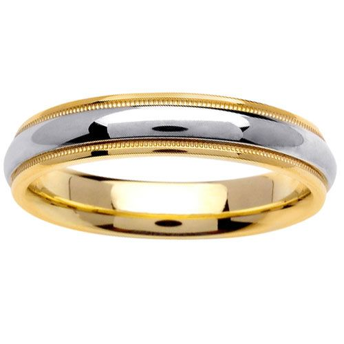Trendy Sample Collection Two Tone Wedding Rings Round Shape Curve Glossy Sleek Golden Silver Color Finger Accessories For Couple Matching