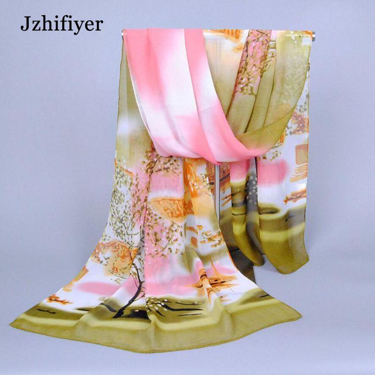 >> Click to Buy << chiffon polyester color-gradual tree printed fashion ladies scarves sarong pareo wrap voile islamique echarpe foulard silk scarf #Affiliate