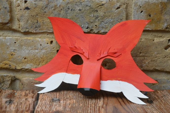 FREE PDF template download 3D DIY Fantastic Mr fox mask how to make a fox mask from a cereal box Roald Dahl Day