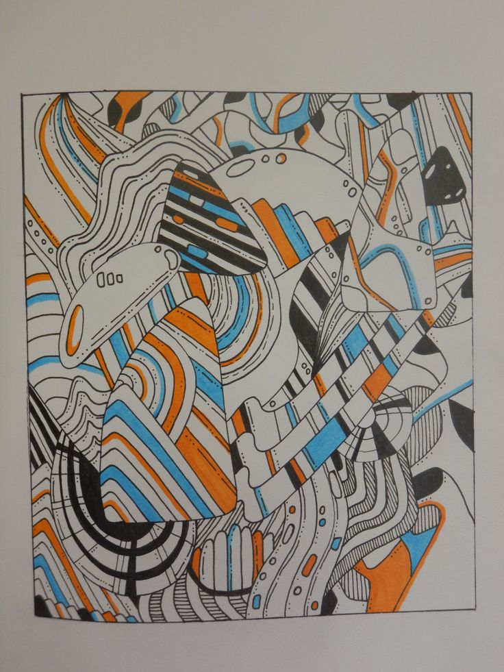 Doodle art drawing. Blue and orange. #doodleart #drawing #copicmarkers