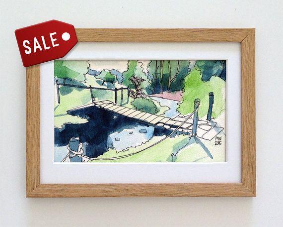 SALE - 50% OFF!!! Fieldhead Campsite, Peak District - original watercolour landscape art by Matt Waruszynski