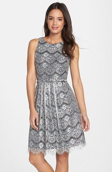 Eliza J Lace Overlay Cutout Fit & Flare Dress (Regular & Petite) available at #Nordstrom