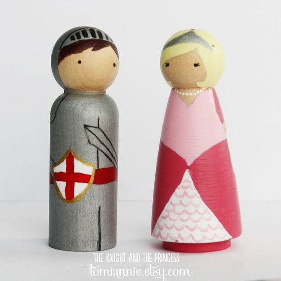 Princess and Knight wooden peg people
