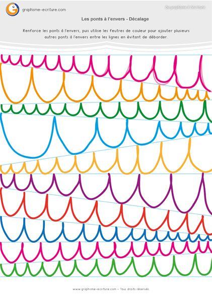 Graphisme MS Les ponts à l'envers – Maternelle Moyenne Section. Entre des lignes décalées, tracer des ponts. Adapter son geste aux contraintes spatiales.