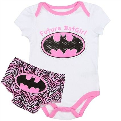 DC Comics Future Batgirl Onesie With Pink And Black Bat Signal With Matching Diaper Cover      Sizes 0/3 Months 3/6 Months 6/9 Months     Made From 90% Cotton 40% Polyester     Label DC Comics Batgirl     Officially Licensed DC Comics Batgirl Apparel  #SuperHero #BabyClothes