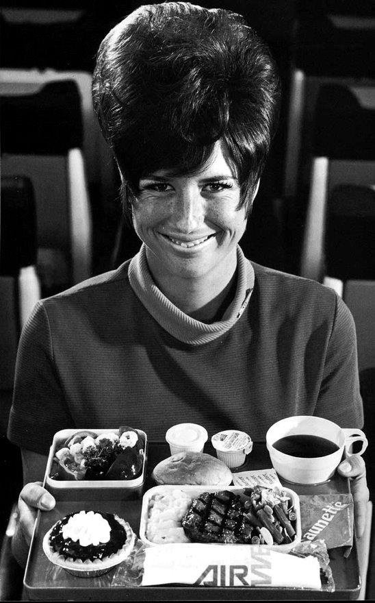 1960's Typical Airline Meal. free drinks . choice of hot meals in coach. all flights.