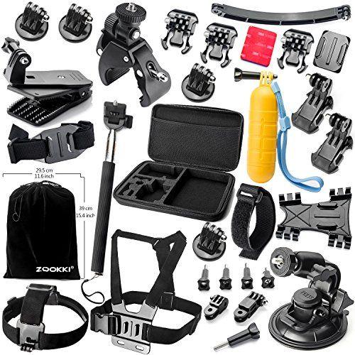 Zookki Accesorio Kit para GoPro Hero 5 4 3+ 3 2 1 Black Silver, Caméra Accessoires para Acción Cámara Xiaomi Yi/Lightdow/WiMiUS/DBPOWER, SJ4000 SJ5000 SJ6000  Nota Atención: La cámara y el controlador mostraron en la imagen no están incluidos en el kit   Acerca ZOOKKI:  Se trata de un kit de accesorios esenciales para toda la GoPro lovers.It hará cómodo con todos los tamaños de cámaras GoPro Hero GoPro incluye 4/3 + / 3/2/1 SJ5000 SJ4000 SJ6000... http://accesoriosd