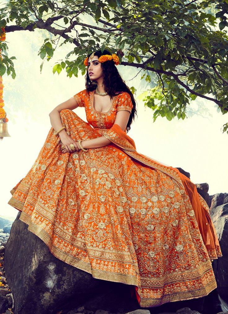 Orange Embroidered Bridal Lehenga