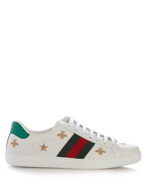 GUCCI Bee And Star-Embroidered Low-Top Leather Trainers. #gucci #shoes #sneakers