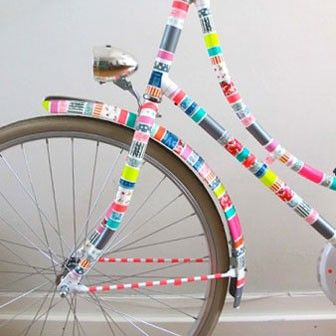 Bicycle decoration made with colorful tape - will absolutely raise some eyebrows :)--google.dk