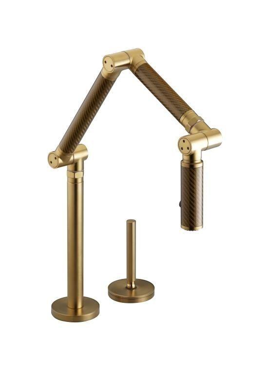 KOHLER Karbon Articulating Deck Mount Kitchen Faucet With Gold Tube,  Vibrant Brushed Gold