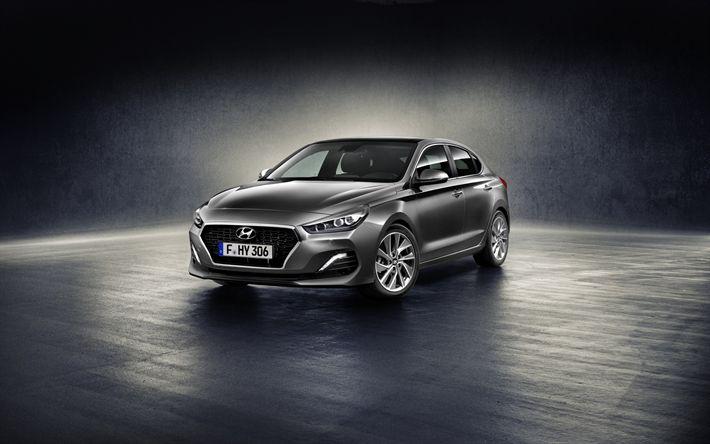 Descargar fondos de pantalla Hyundai i30, 2018, Gris i30, el nuevo i30, berlinas, coches coreanos de Hyundai
